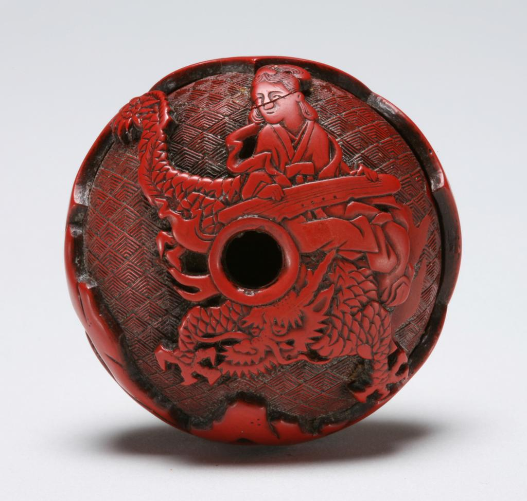 Featured image for the project: Red lacquer manju netsuke
